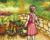 Needle Felted Art Wall Hanging - My Little Garden in Israel