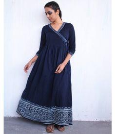 Blue Block-printed Cotton Angarakha Dress with Gathers
