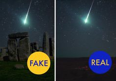 No, that's not a meteor over Stonehenge (or Stonehedge, as this misleading tweet flame). For some reason this will not die, get passed around on Twitter, Pinterest and Tumblr and again. The photo shows a very real meteor fireball over Oklahoma in 2008. However, some idiot put it behind Stonehenge and suddenly just will not go away, no matter how many times bloodhounds of astronomy as FakeAstropix discredit.