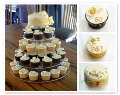 Sugarbloom Cupcakes - Perth WA: 50th Golden Wedding Anniversary Cupcakes  Mom likes the one with the rose & 50 on it.