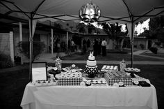 Green + Black Retro Palm Springs Wedding: dessert table  www.joyfulweddingsandevents.com