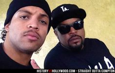 Ice Cube (right) and his son O'Shea Jackson Jr. who portrays him in the Straight Outta Compton movie. See more pics here: http://www.historyvshollywood.com/reelfaces/straight-outta-compton/