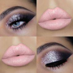 Glitter Smokey Eye with Nude Lips - Make-up-Ideen - Eye Makeup Glitter, Grey Eye Makeup, Eye Makeup Tips, Smokey Eye Makeup, Eyeshadow Makeup, Lip Makeup, Makeup Brushes, Eyeliner, Makeup Cosmetics