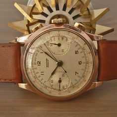 """1940s TISSOT [Swiss] Vintage Military Chronograph Watch Rare Lemania Cal. 15TL 