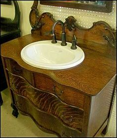 photo of sink and faucet antique bathroom vanity claw foot antique dresser for bathroom vanity with kohler sink and price pfister faucet master bath - Antique Bathroom Vanity
