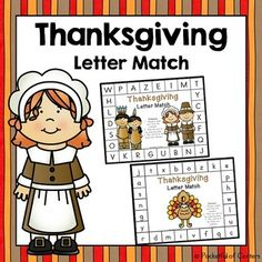 This fun Thanksgiving themed game is a great way to practice letter recognition!  Print the work mats and letter cards.  Place the letter cards in a seasonal container.  Have the children choose a letter card, identify the letter, and match it to the letter on the work mat.