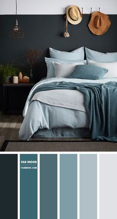 Why settle for one paint color when you can choose two? See this inspiring two–tone walls in charcoal and light grey smoke color. If this a beach bedroom bright. Grey Colour Scheme Bedroom, Grey Bedroom Colors, Blue Bedroom Walls, Teal Walls, Grey Teal Bedrooms, Beach Bedrooms, Charcoal Bedroom, Charcoal Walls, Charcoal Color