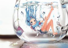 Anime girl in a fishbowl