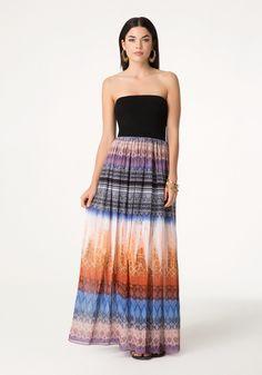 Print Strapless Maxi Dress