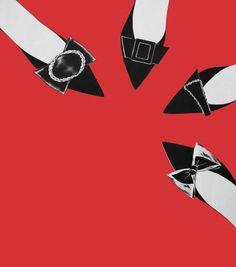 Rene Gruau chaussures rouges et noires
