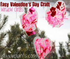 Easy #Valentine's Day craft...#suncatchers using contact paper and lots of little scraps/stickers/yarn to work those fine motor skills.