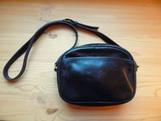 Vintage Coach Black Leather Cross Body Handbag by VintageZipper