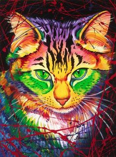 The Artwork of Steven Schuman Arte Pop, Art And Illustration, Cat Sketch, Colorful Animals, Rainbow Art, Cat Colors, Happy Art, Cat Drawing, Cat Design
