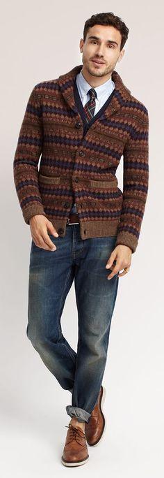 Guyliness vest tie denim combination. In donkere herfst (H3) kleuren.