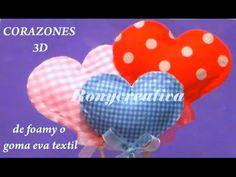 MANUALIDADES COMO HACER CORAZONES DE FOMI O GOMA EVA en 3D / HEART FOAMI DIY