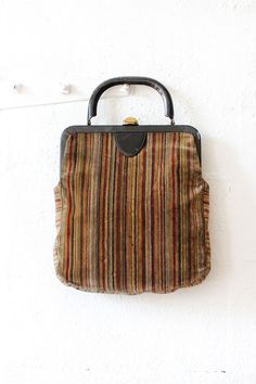 Petite Carpet Bag • Vintage burgundy, olive and tan velvet striped carpet bag with leather handle. Channel your inner Mary Poppins with this adorable purse!
