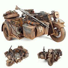 Zündapp KS 750 1/6. Modeler Yu Gyeon Jin #scalemodel #plastimodelismo #scalemodelkit #plasticmodel #plastimodelo #plastimodelo #plastickit #usinadoskits #udk #miniatura #miniatur #miniature #maqueta #maquette #modelismo #modelism #modelisme Tamiya Model Kits, Tamiya Models, Military Figures, Military Art, Vintage Bikes, Vintage Motorcycles, Steampunk Motorcycle, Military Modelling, Panzer
