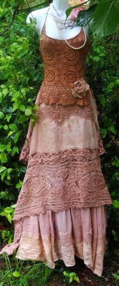 Tea- stained crocheted maxi- dress by tom yang