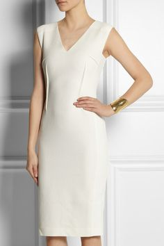 rouland mouret Wezen stretch crepe-paneled basketweave cotton dress