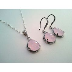 Blush Pink wedding Necklace and Earrings Set ,wedding Jewerly, drop... ($50) ❤ liked on Polyvore featuring jewelry, earrings, dangle earrings, long drop earrings, pink jewelry, polish jewelry and drop earrings