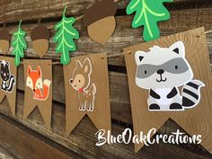 Woodland Party Banner - Woodland Baby Shower Decorations Woodland Birthday Banner Woodland Decorations Party First Birthday Photo Props - Woodland Shower Baby Shower Party Banner by BlueOakCreations Baby Shower Photo Booth, Baby Shower Photos, Baby Boy Shower, Party Animals, Animal Party, Fox Party, Party Party, Woodland Party, Woodland Theme