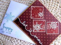 Handmade New Year Card: complete card, handmade, balsampondsdesign, ooak, greeting card, snowflakes, snow, red, card, friend, winter by balsampondsdesign on Etsy