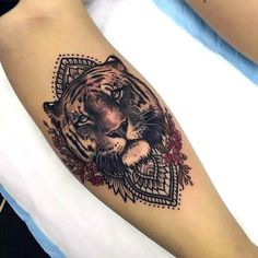 Beautiful Girly Tiger Mandala Tattoo Idea