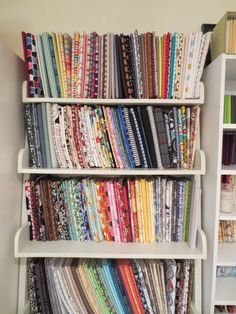 craft room! Ideas for organizing fabric from The Cottage Mama ~ {Comic Book Boards and File Folders}