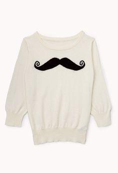 Musctache Sweater | FOREVER21 girls - You mustache this sweater #Juniors #Mustache