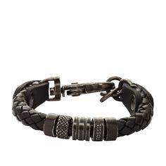 FOSSIL Mens Leather Braided Bracelet - Black