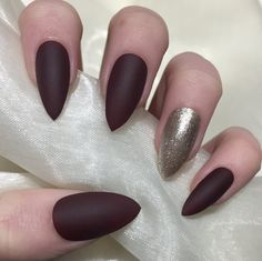 Image of Matte burgundy and champagne glitter
