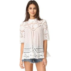 Zimmermann Caravan Embroidered Smock Top ($480) ❤ liked on Polyvore featuring tops, embroidered top, zimmermann, embroidery top, smocked top and smock top