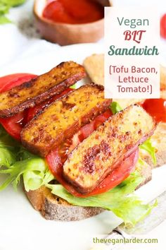 A Vegan version of a BLT is possible and totally delicious. This easy recipe uses smoked tofu to make 'bacon' and has all the classic yummy lettuce, tomato and condiments. #vegan #vegan breakfast #breakfast #BLT #vegan bacon #vegan recipe