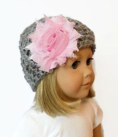 Doll Hat AG Doll Beanie Knit Doll Clothes Gray by PreciousBowtique