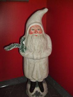 Wunderschöner großer alter weißer Weihnachtsmann Pappmaché Originalzustand