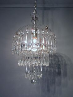 """Vintage Antique 1930's Czech Lead Crystal Chandelier  Waterfall Wedding Cake  31"""" long by CenturyOfLighting on Etsy https://www.etsy.com/listing/175784716/vintage-antique-1930s-czech-lead-crystal 12 1/2 chain and canopy 9 1/2 wide"""