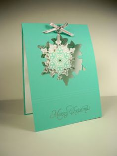 Lovely Christmas card with Stampin Up Festive Flurry stamps & framelits