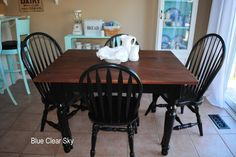 Wooden Table Top With Black Legs And Black Farm Chairs Farmhouse Table  Chairs, Farm Tables