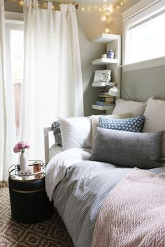 Small bedroom  Check out this tiny bedroom for decoration ideas and  organizational efficiency. Small 60677d38e1b6