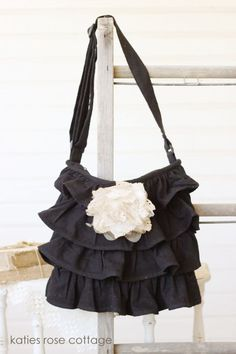 ruffle black bag with rose....Love this !!!