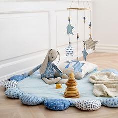 Bomuld sand m blå stjerner