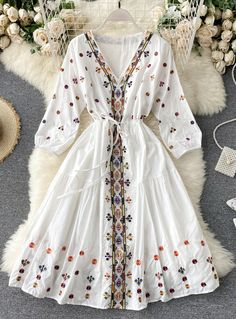 A Line V Neck Embroidery Long Sleeve Dress Indian Fashion Dresses, Dress Indian Style, Girls Fashion Clothes, Indian Designer Outfits, Fashion Outfits, 80s Fashion, Stylish Dresses For Girls, Stylish Dress Designs, Designs For Dresses