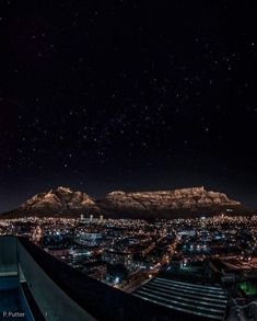 Night skies above Table Mountain Cape Town South Africa x Cape Town Photography, City Photography, Places To Travel, Places To Visit, Travel Things, 5 Things, Table Mountain Cape Town, Mountains At Night, Le Cap