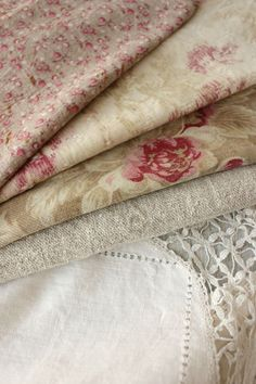 Time-worn aged, lovely antique and vintage French fabrics for projects…