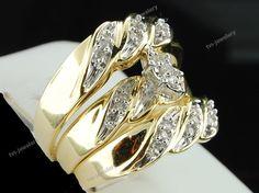 Diamond Wedding 10K Yellow Gold Trio His And Her Bridal Band Engagement Ring Set #tvsjewelery #EngagementWeddingAnniversary