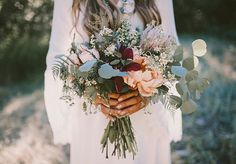 Organic bridal bouquet with lots of greens