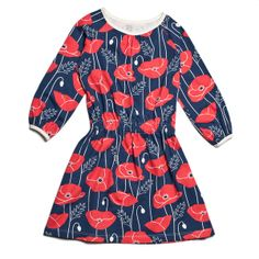 Domino Dress - Poppies Navy & Red - Made in the USA