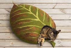 Haus/Blatt/Filz Katze Bett /cat Höhle/Katze-Katze cave von elevele                                                                                                                                                                                 Mehr