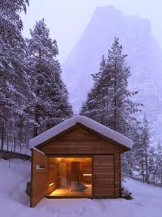 Set in Normandie, France, this small cabin has been designed by Amaud Locoste and Jerome Vincon of Lode Architecture. The cabin, called The F House, has Tiny House Movement, Tyni House, Alpine Lodge, Outdoor Sauna, Sauna Design, Cabin In The Woods, Cabana, Modern Architecture, Windows Architecture