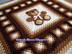 """Love Crochet: Teddy Bear blanket 39"""" by 39"""""""